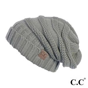 C.C. Beanie Ribbed knit slouchy beanie in GRAY
